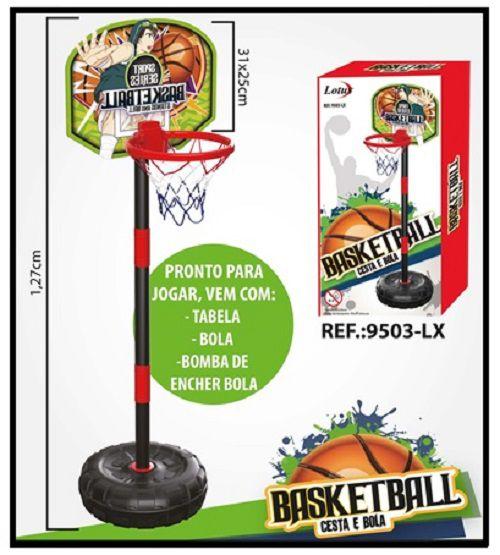 Cesta de Basquete Infantil Completa Com Mastro Bola e Bomba - 9503
