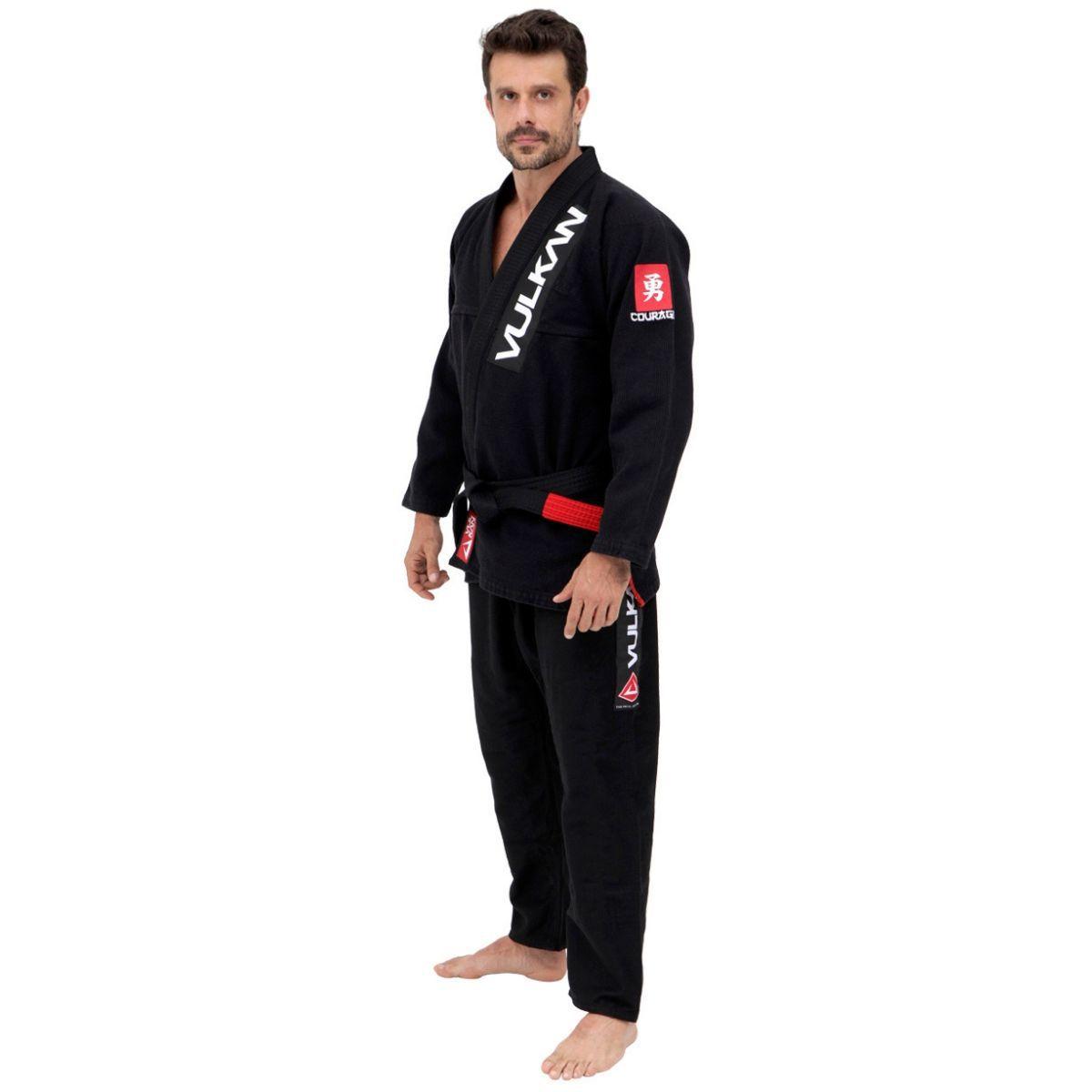 Kimono Vulkan Para Jiu Jitsu Profissional Adulto - KATANA PRO PRETO MASCULINO