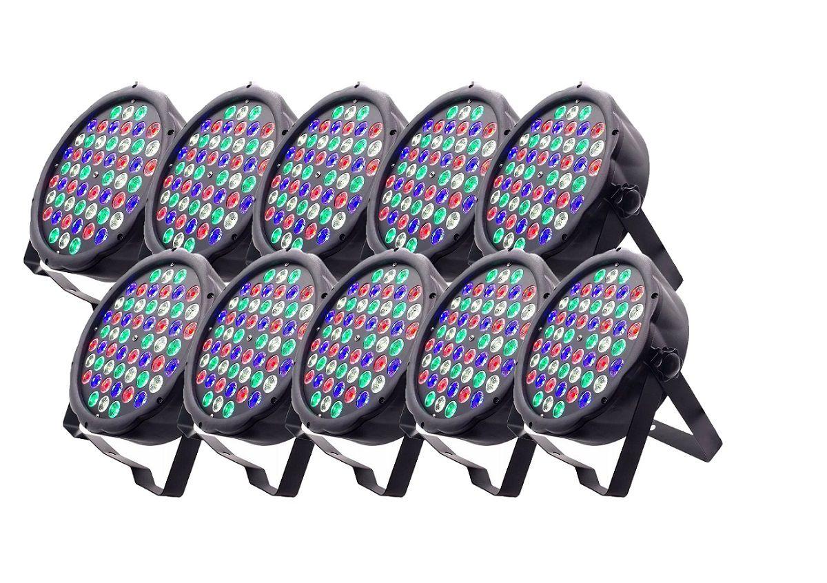 Kit 10x Canhão de Luz Led Par 64 RBGW 54 Leds 3w Strobo Dmx Digital