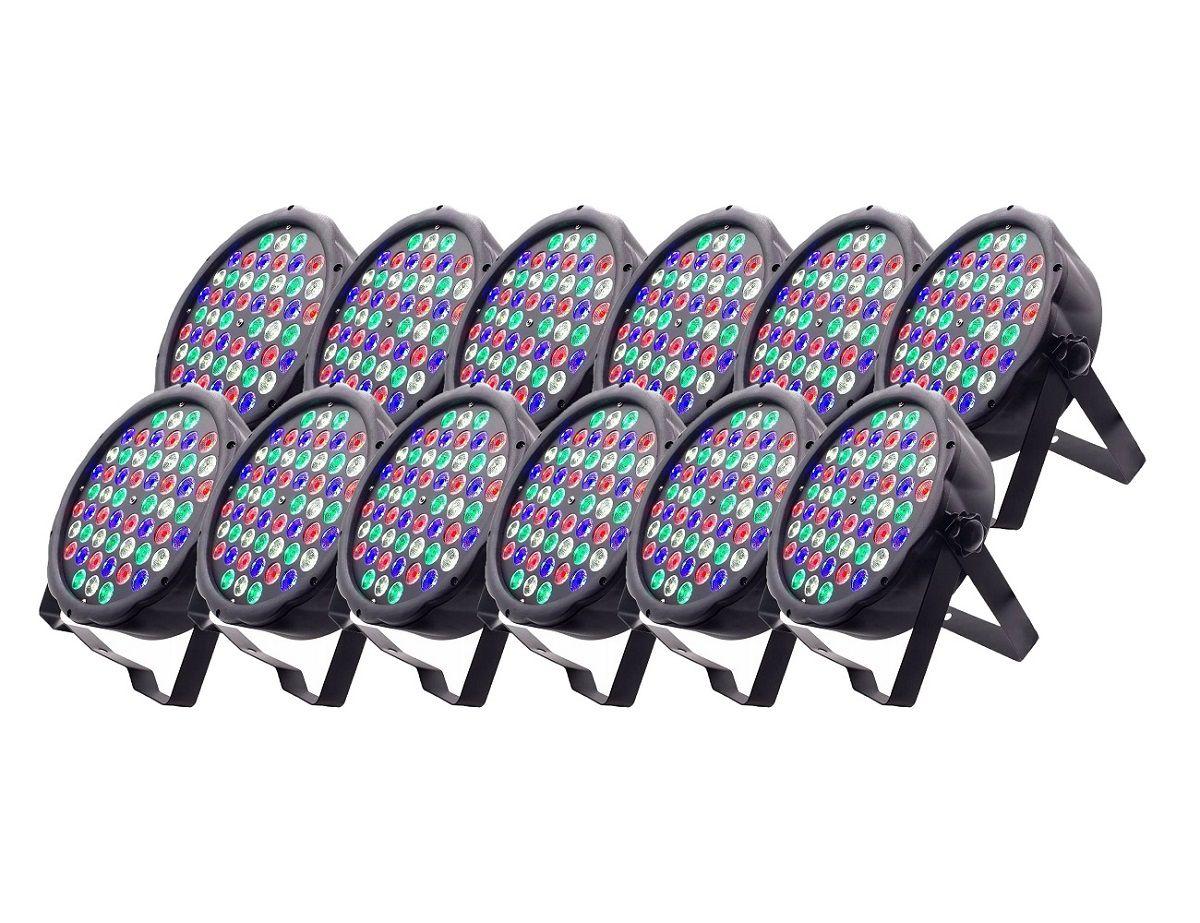 Kit 12x Canhão de Luz Led Par 64 RBGW 54 Leds 3w Strobo Dmx Digital