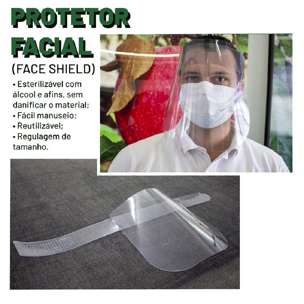 Kit 12x Máscaras De Proteção Facial Acrílico Ajustável - Face Shield