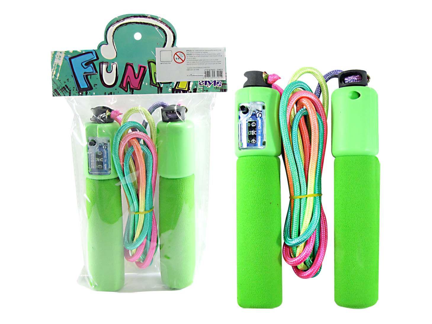 Kit 15 Pula Corda Infantil Colorido Divertido Funny Verde - 3401