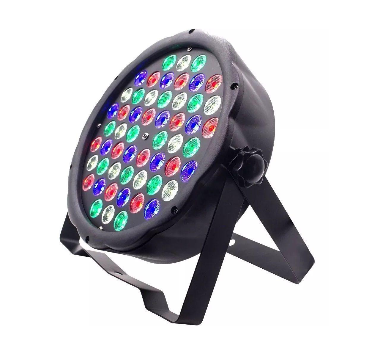 Kit 2 Canhão de Luz Led Par 64 RBGW 54 Leds 3w Strobo Dmx Digital