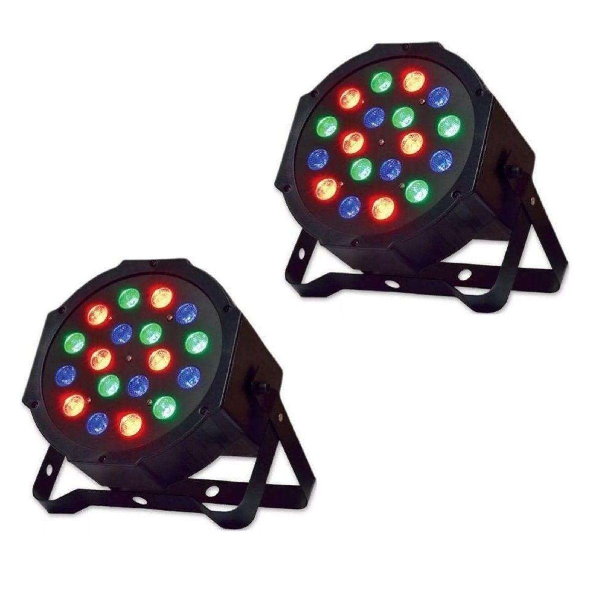 Kit 2x Canhão de Luz PAR 18 LEDs 1W RGB DMX Strobo Painel Digital