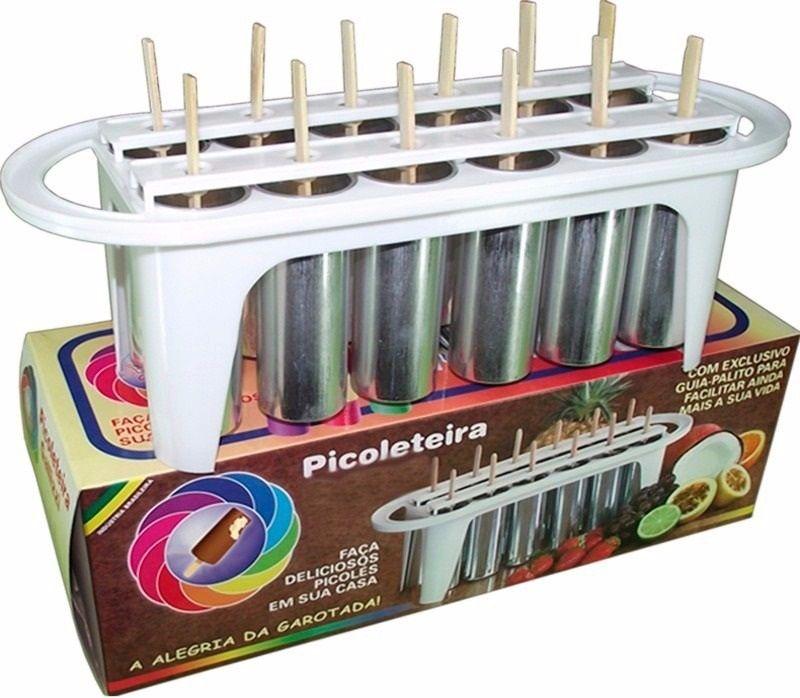 Kit 2 Picoleteira Redonda de 12 + 2 Picoleteira Quadrada 16 Picolés