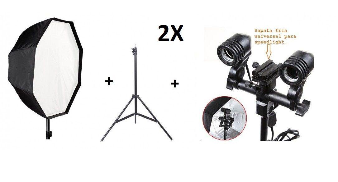 Kit 2 Softbox 120cm + 2 Soquete Duplo E27 + Soquete Duplo Com Suporte Flash + 2 Tripé 2 Metros St-803