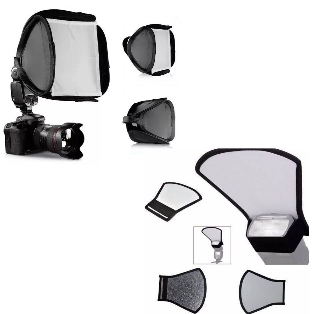 Kit 2x1 : Rebatedor 2 Lados + Mini Softbox Para Flash Speedlight 23x23cm