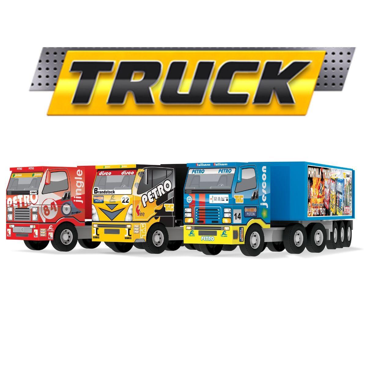 Kit 2x Caminhão Carreta Com Baú Fórmula Truck Articulável Em Madeira De MDF - 108