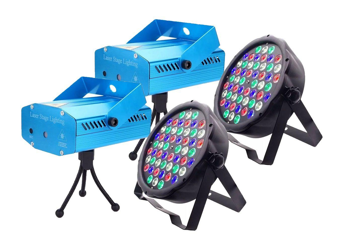 Kit 2x Canhão Luz Par 54 LEDs + 2x Mini Laser Projetor Holográfico - 54LEDSLIM+SD-09