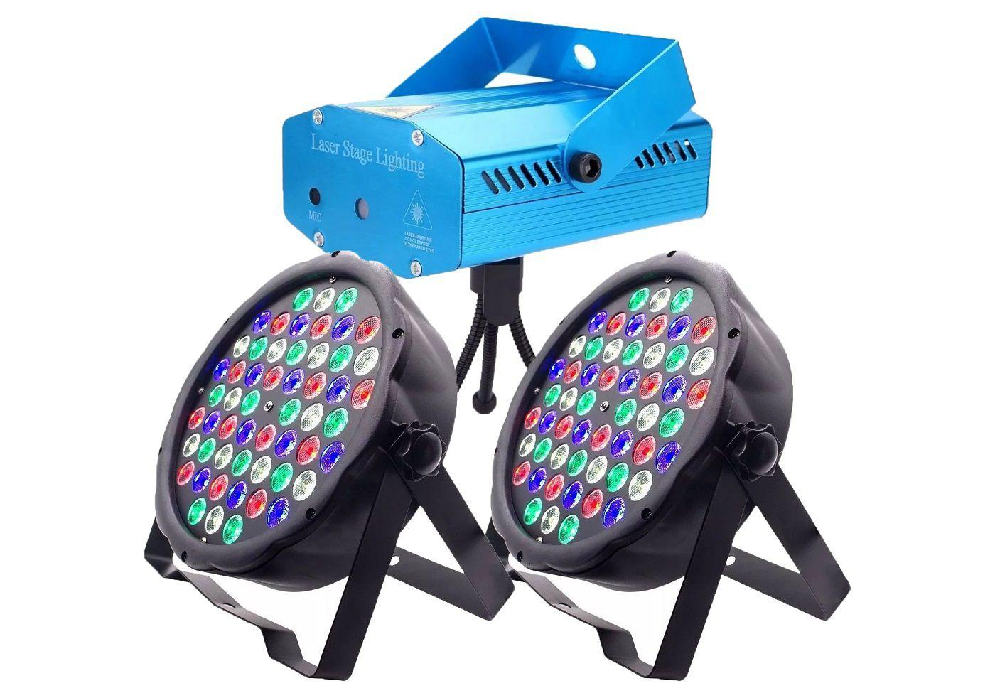 Kit 2x Canhão Luz Par 54 LEDs + Mini Laser Projetor Holográfico - 54LEDSLIM+SD-09