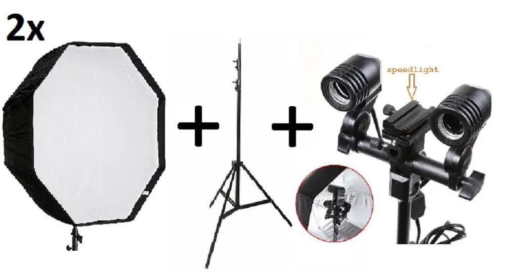 Kit 2x Fotográfico Octabox 80cm + Tripé 2M + Soquete Duplo