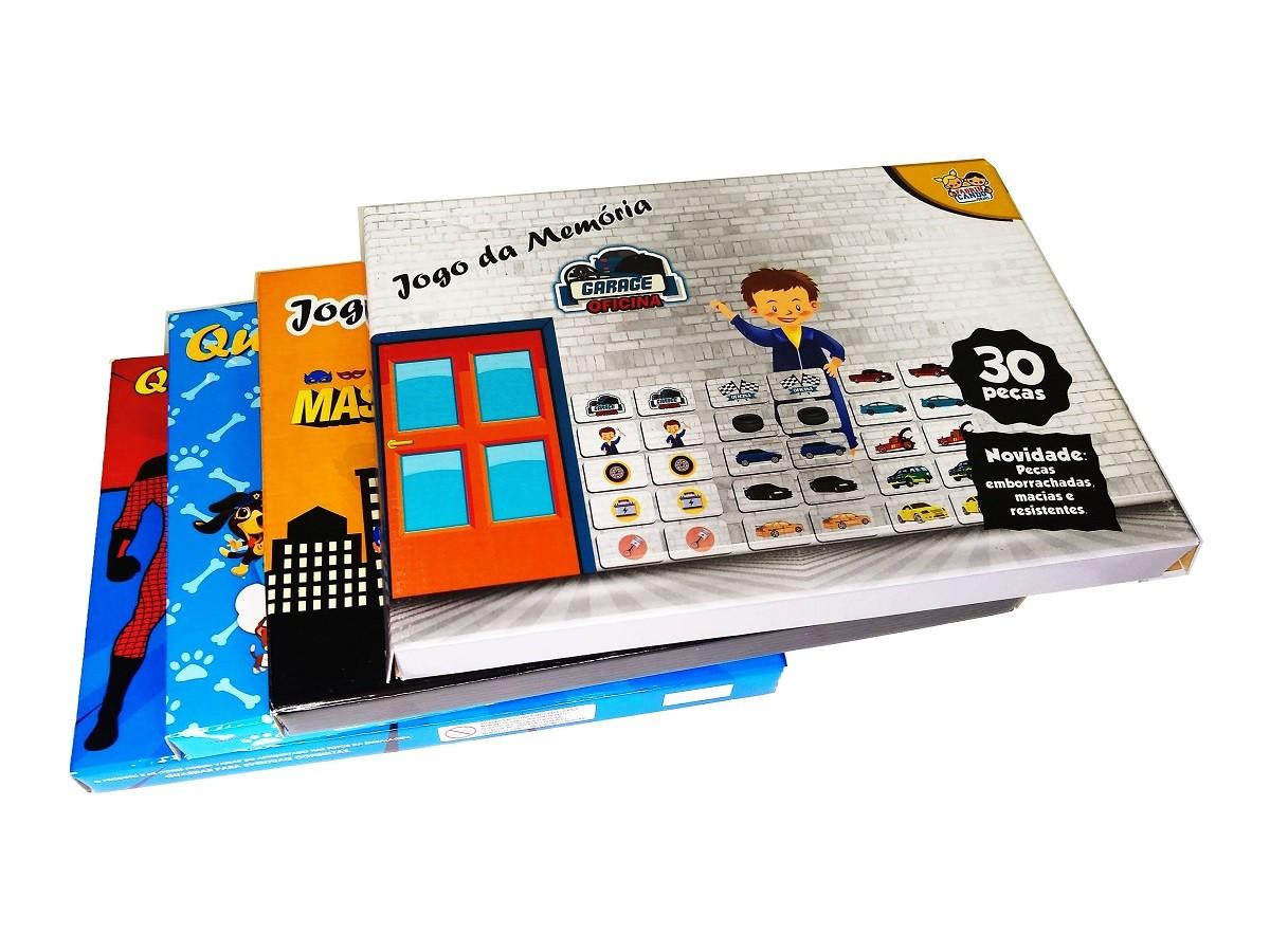 Kit 2x Jogo Da Memória 30 Peças E 2x Quebra-Cabeça Sortido 60 Peças - KIT-02M