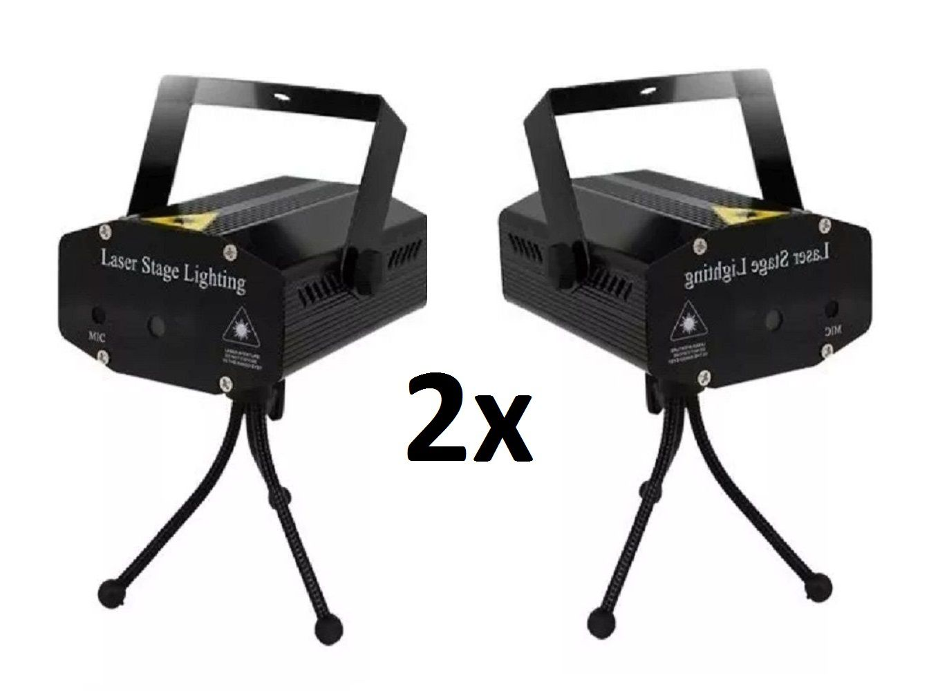 Kit 2x Mini Laser Projetor Holográfico Stage Lighting Preto - SD-08