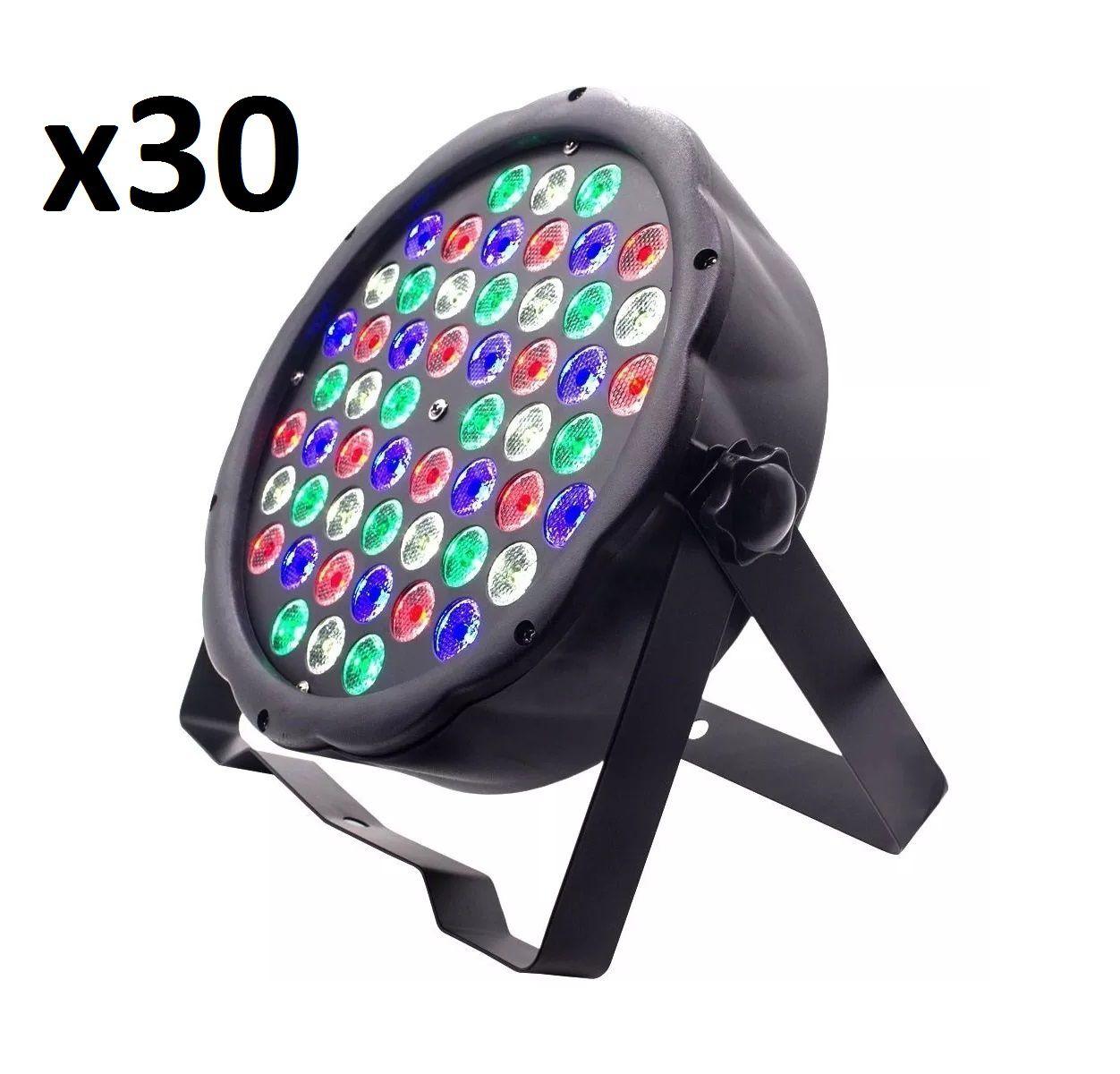 Kit 30x Canhão de Luz Led Par 64 RBGW 54 Leds 3w Strobo Dmx Digital