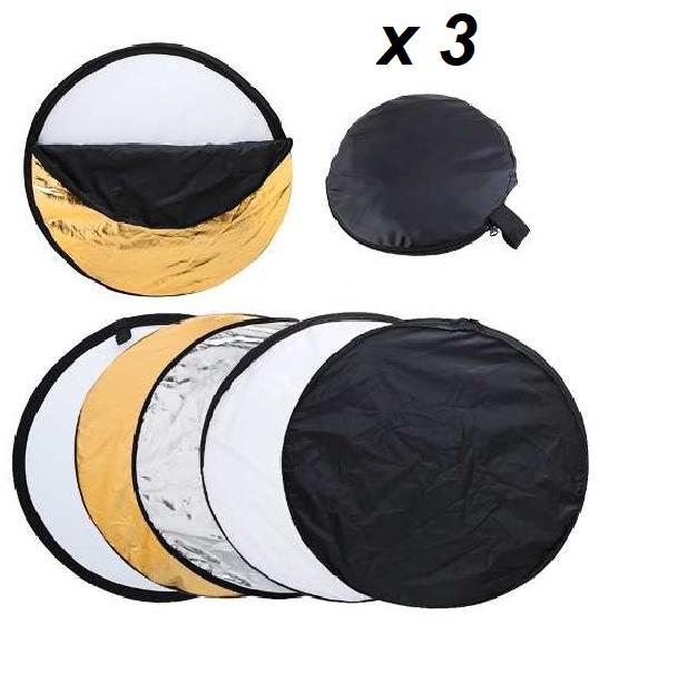 Kit 3 Rebatedores Refletor Fotográfico e Difusor 5 em 1 Dobrável 110cm