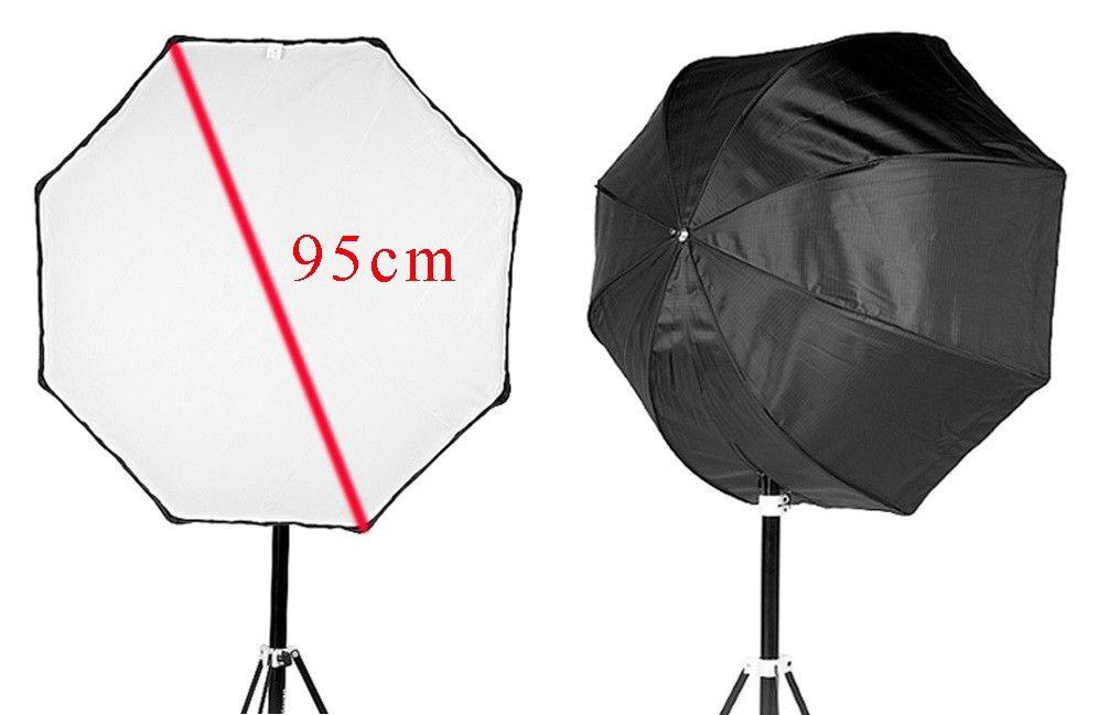 Kit Fotográfico Universal Octabox 95cm + 2 Lampadas De Led Bivolt 65w + Soquete Duplo Com Suporte Flash