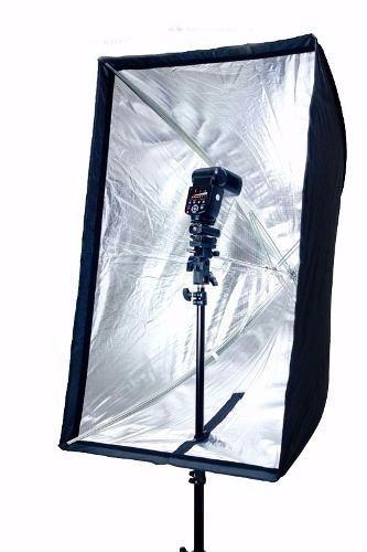 Kit Para Estúdio Fotográfico Profissional - Tripé 2M + Soquete Simples + Softbox 60x90cm