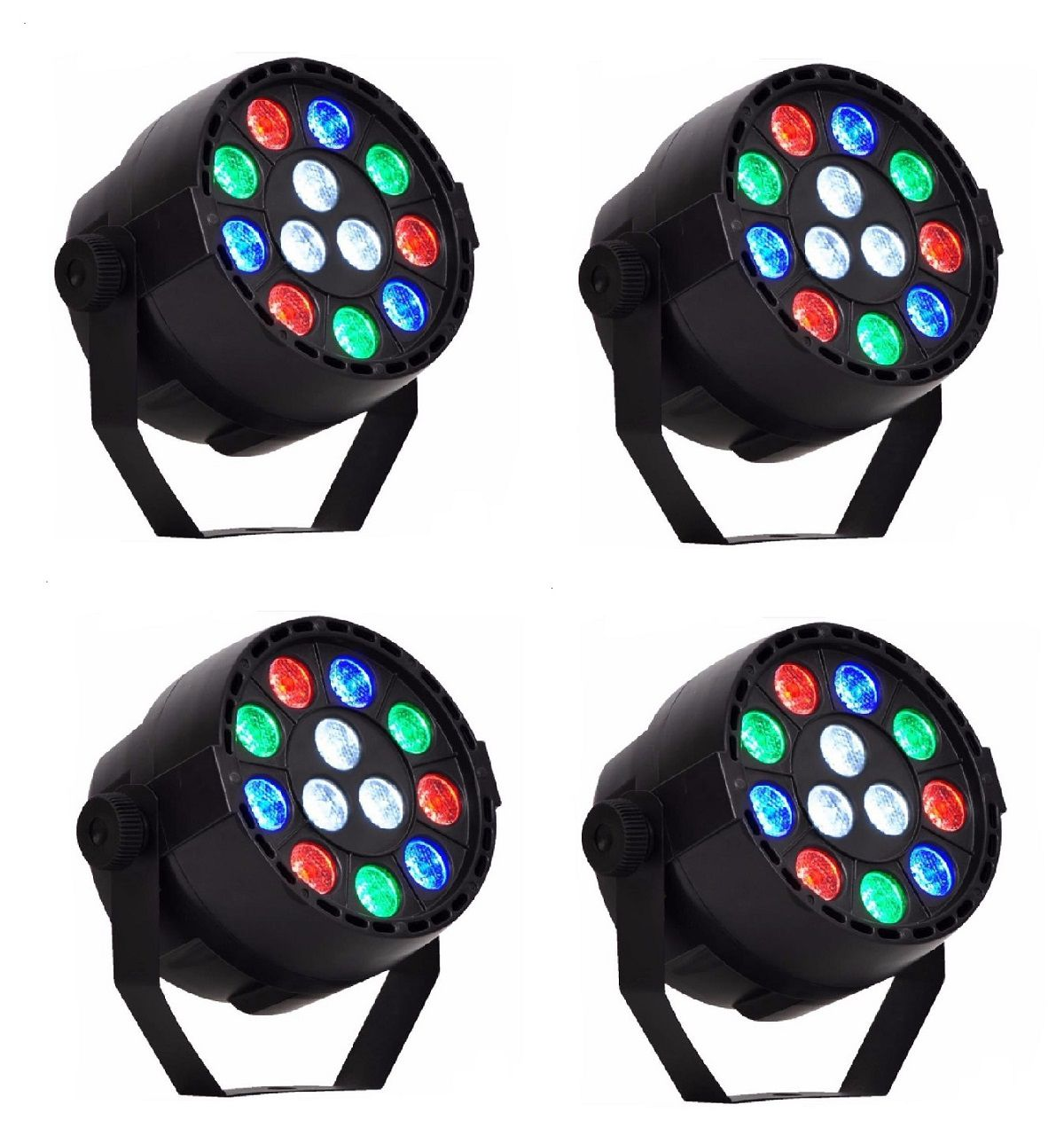 Kit 4x Canhão de Luz Refletor Par 12 Leds 1W RGB DMX Display Digital