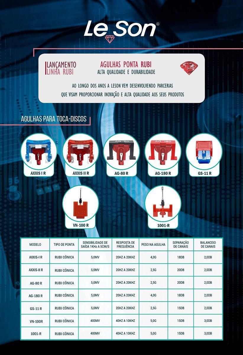 Kit 4x Agulha Leson Axxis II Rubi Original Para Toca Discos E Vitrolas - Axxis II R