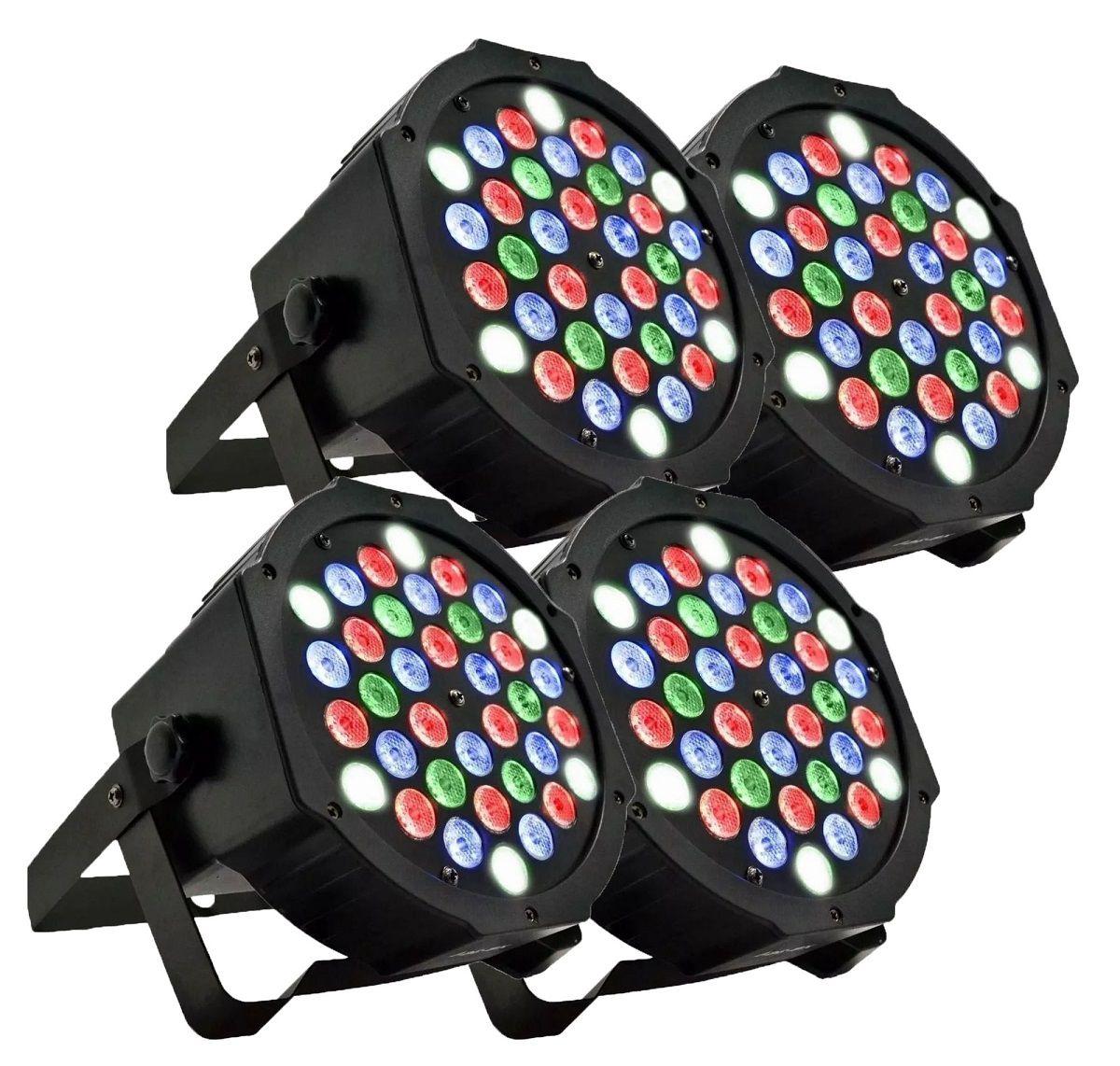 Kit 4x Canhão de Luz Led par 64 RGB 36 Leds DMX Digital Strobo Slim