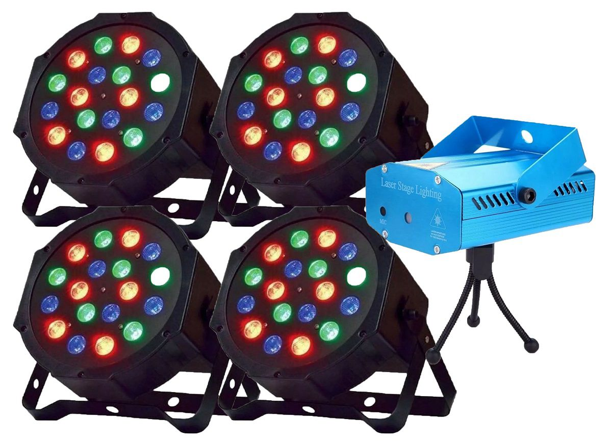 Kit 4x Canhão Luz PAR 18 LEDs + Mini Laser Projetor Holográfico - 18LEDSLIM+SD-09