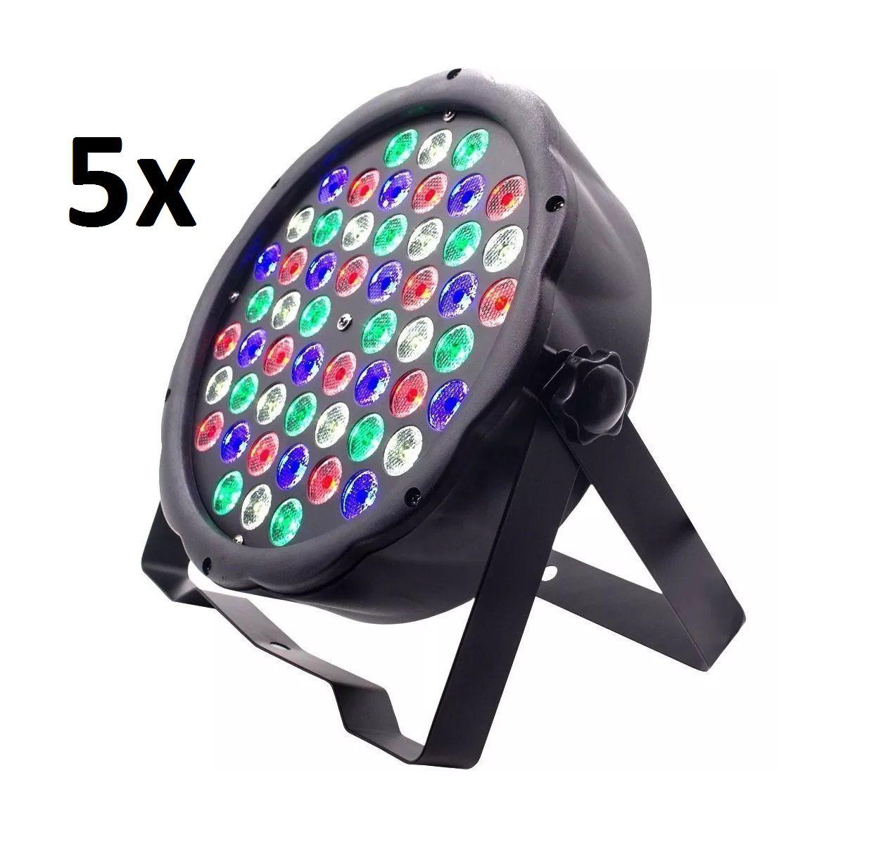 Kit 5x Canhão de Luz Led Par 64 RBGW 54 Leds 3w Strobo Dmx Digital