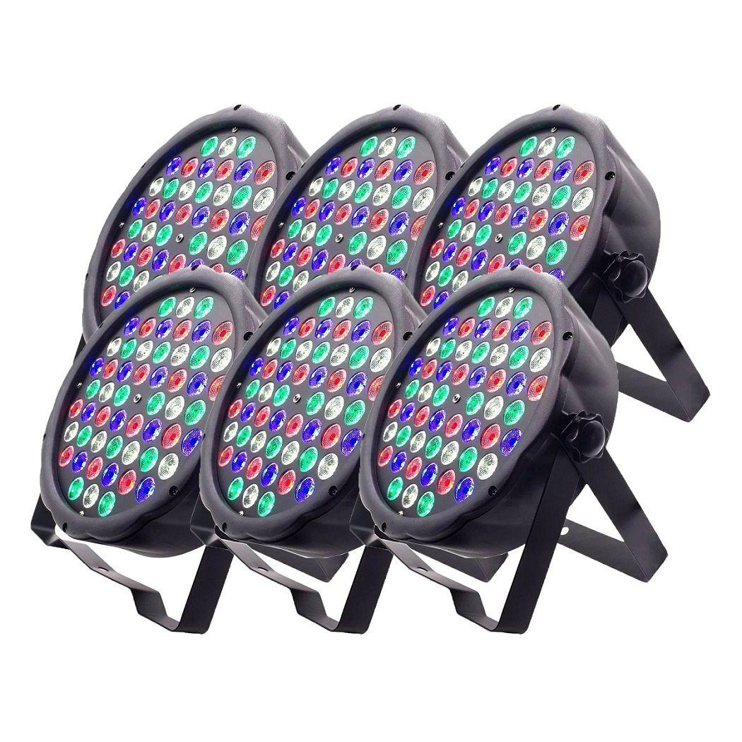 Kit 6 Canhão de Luz Led Par 64 RBGW 54 Leds 3w Strobo Dmx Digital