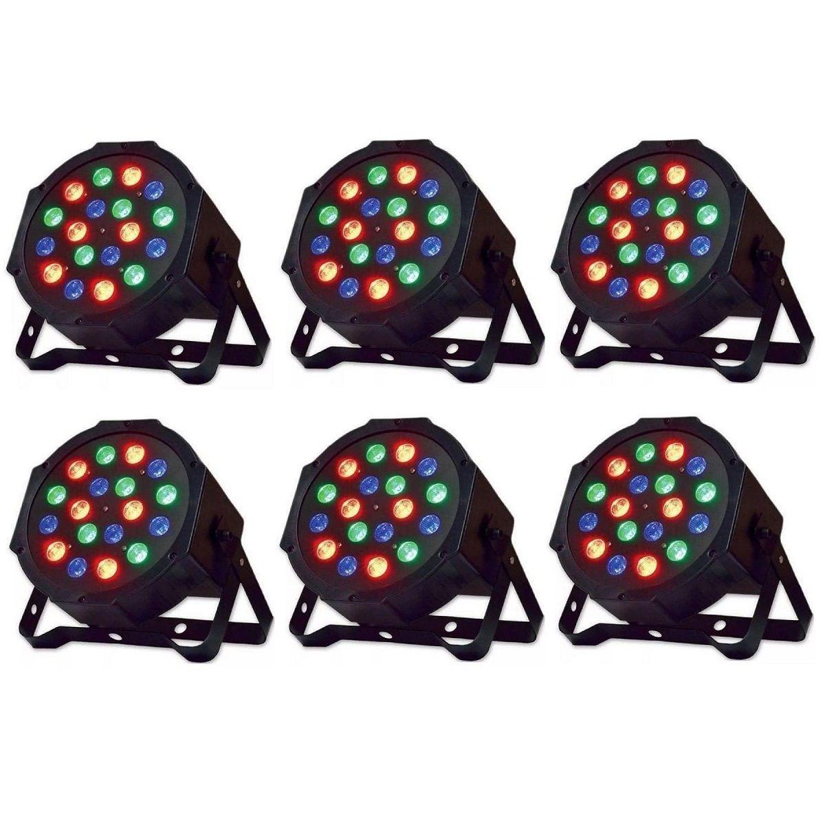 Kit 6x Canhão de Luz PAR 18 LEDs 1W RGB DMX Strobo Painel Digital
