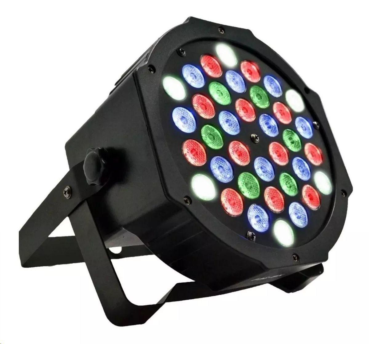 Kit 8 Canhão De Luz Led Par 64 Rgb 36 Leds Dmx Digital Strobo Slim