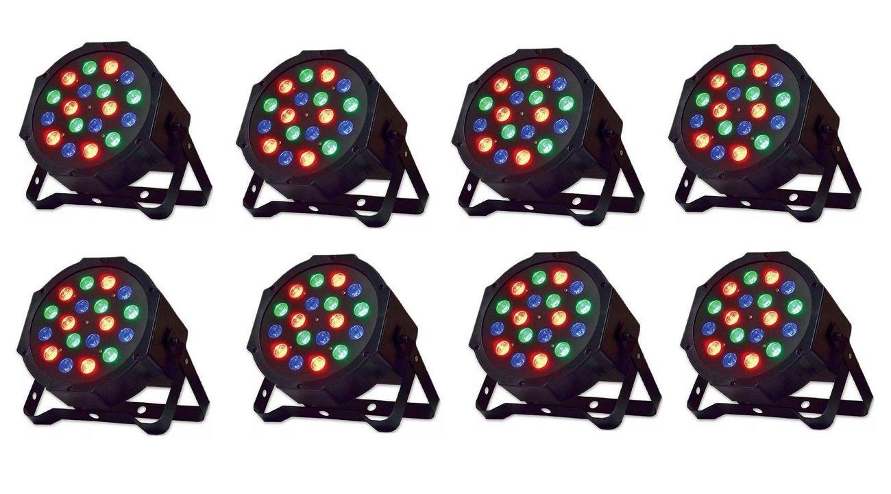 Kit 8 Canhão de Luz PAR 18 LEDs 1W RGB DMX Strobo Painel Digital