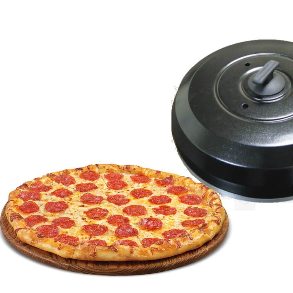 Kit Abafador De Pizza Preto Em Alumínio Grande 40cm + Pá Para Pizza Alumínio 35cm Cabo 17,5cm Cabo Curto