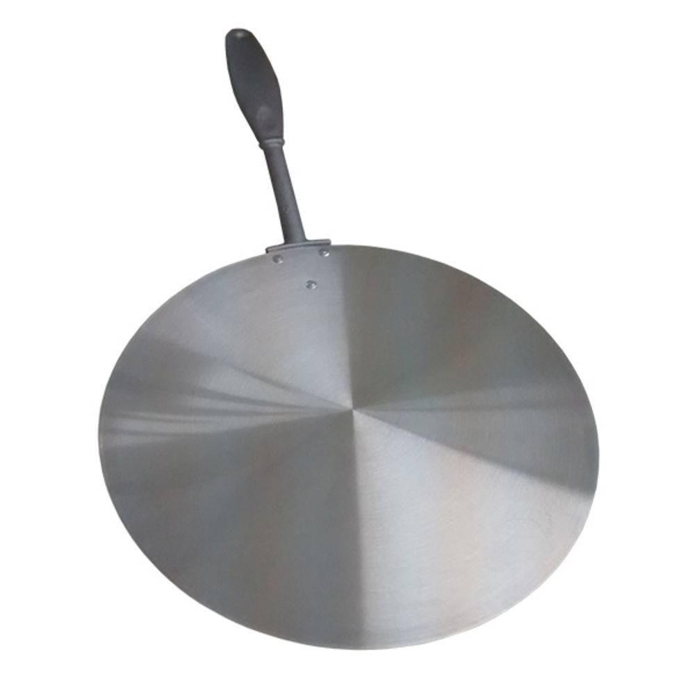 Kit Abafador De Pizza Preto Alumínio Grande 40cm + Pá Para Pizza 35cm Cabo 27cm Longo