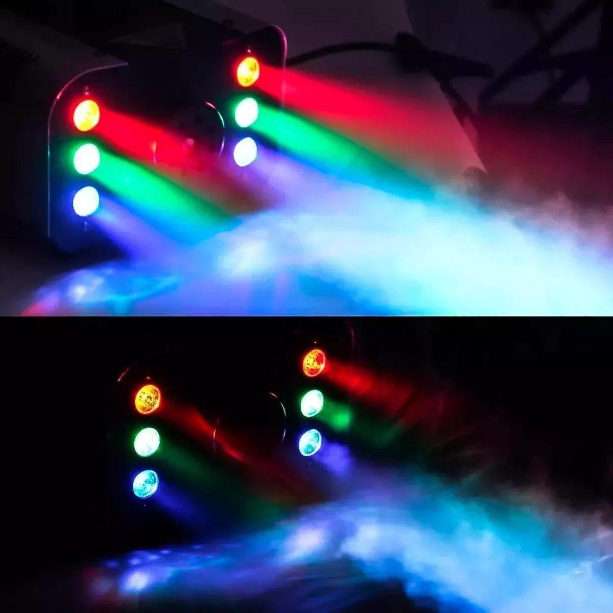 Kit Canhão 18 Leds RGB + Strobo 12 Leds Branco + Máquina Fumaça 1200W + Líquido - 18LEDSLIM+12LEDBR+XH-1200W