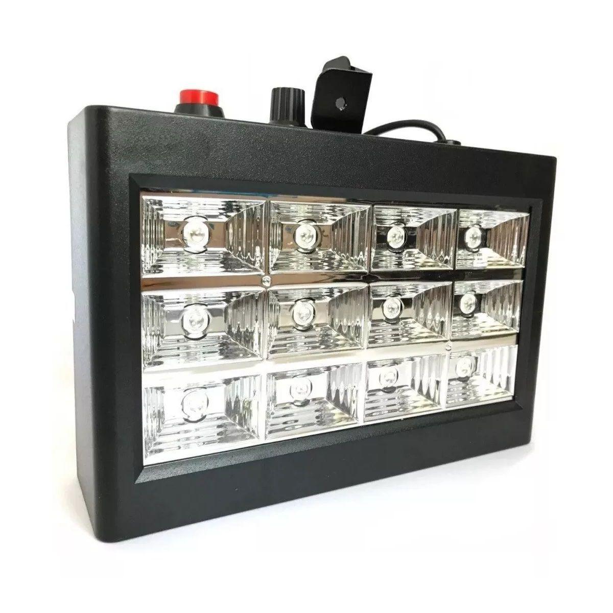 Kit Canhão Luz 18 Leds RGB + Strobo 12 Leds RGB + Máquina Fumaça 600W - 18LEDSLIM+12LEDRGBR+XH-600W