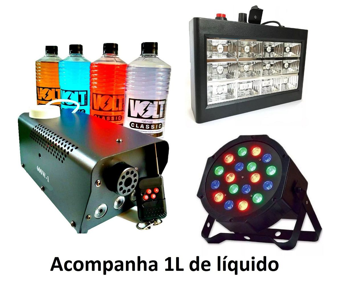 Kit Canhão Luz 18 Leds + Strobo 12 Leds RGB + Máquina Fumaça 600W + Líquido 1L - 18LEDSLIM+12LEDRGBR+XH-600W+MY1012