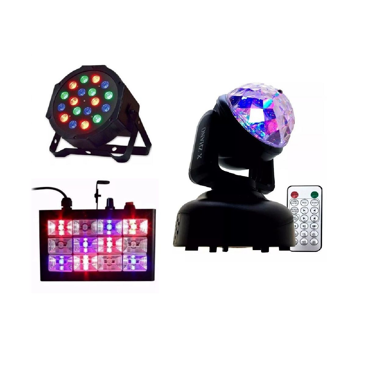 Kit Canhão Luz 18 LEDs + Strobo 12 LEDs RGB + Mini Moving Head Bola Maluca - 18LEDSLIM+12LEDRGBR+HL-080
