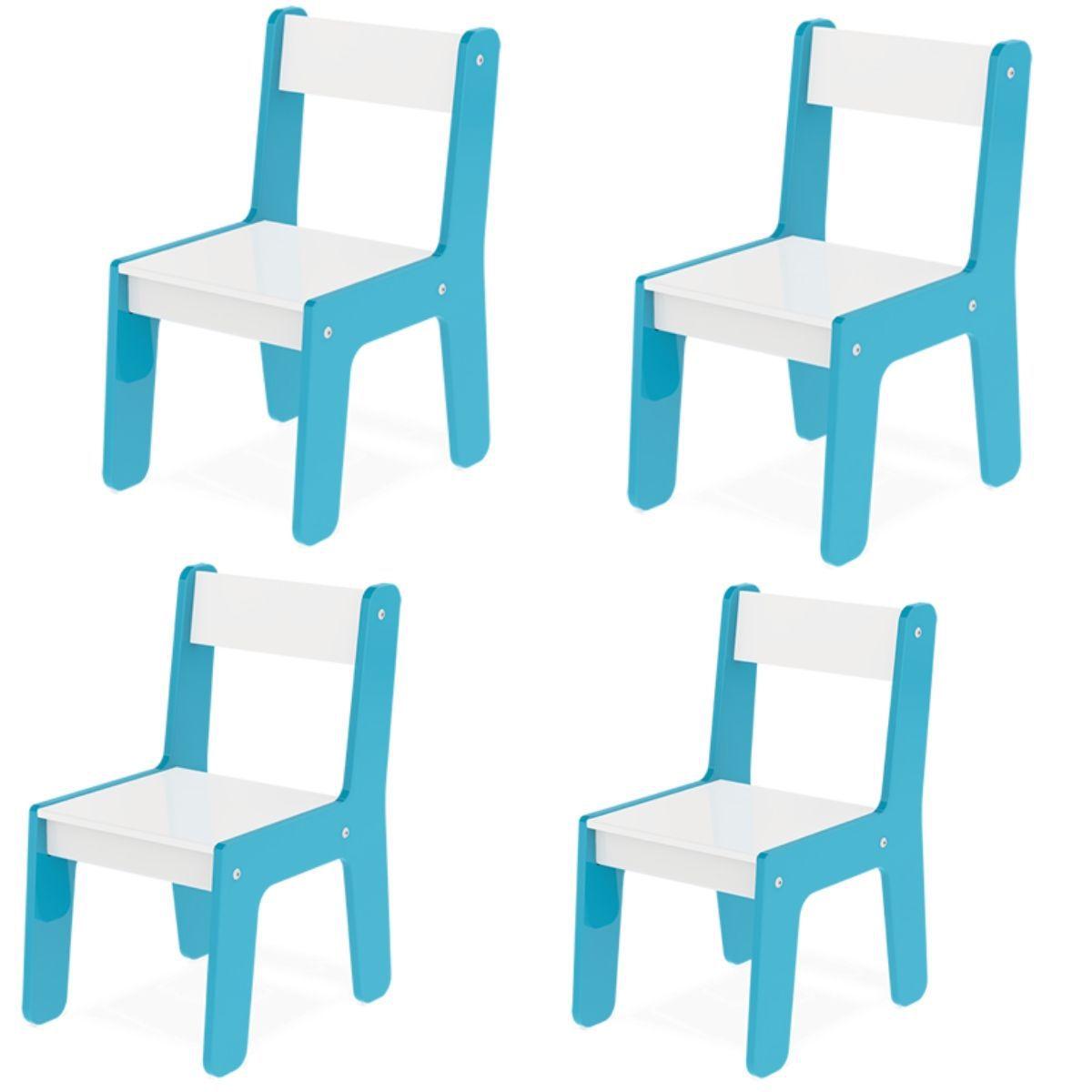 Kit Com 4 Cadeiras Infantil Em Madeira Mdf Crianças Até 40kg Diversas Cores - Junges