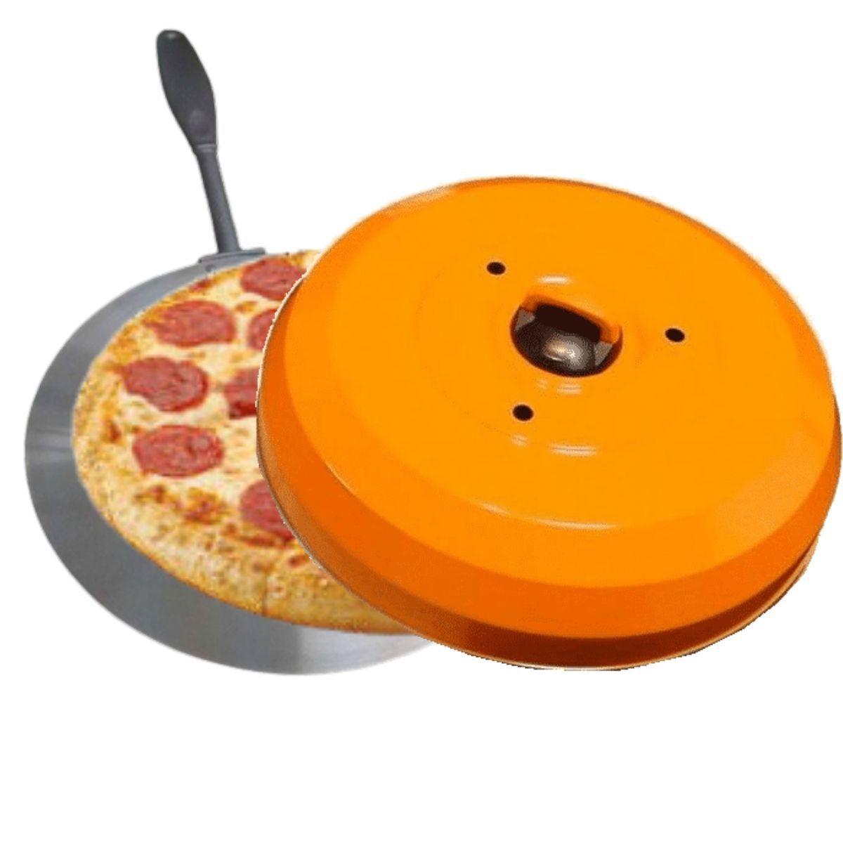 Kit Com Abafador De pizza E Churrasco Laranja E Pá De Pizza Profissional Cabo Reforçado E Longo