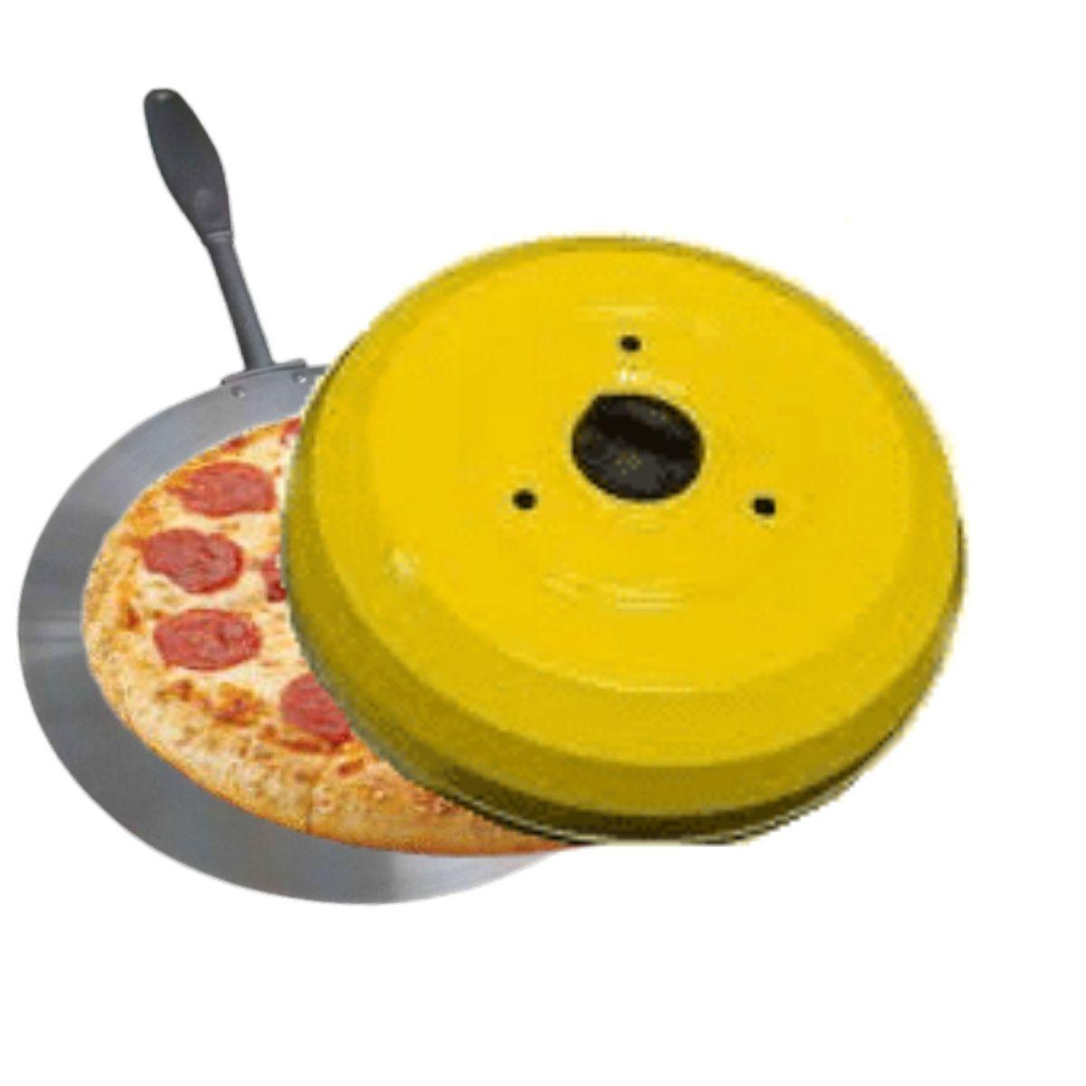 Kit Com Abafador De Pizza E Churrasco Profissional Amarelo E Forma De Pizza Cabo Longo E Reforçado