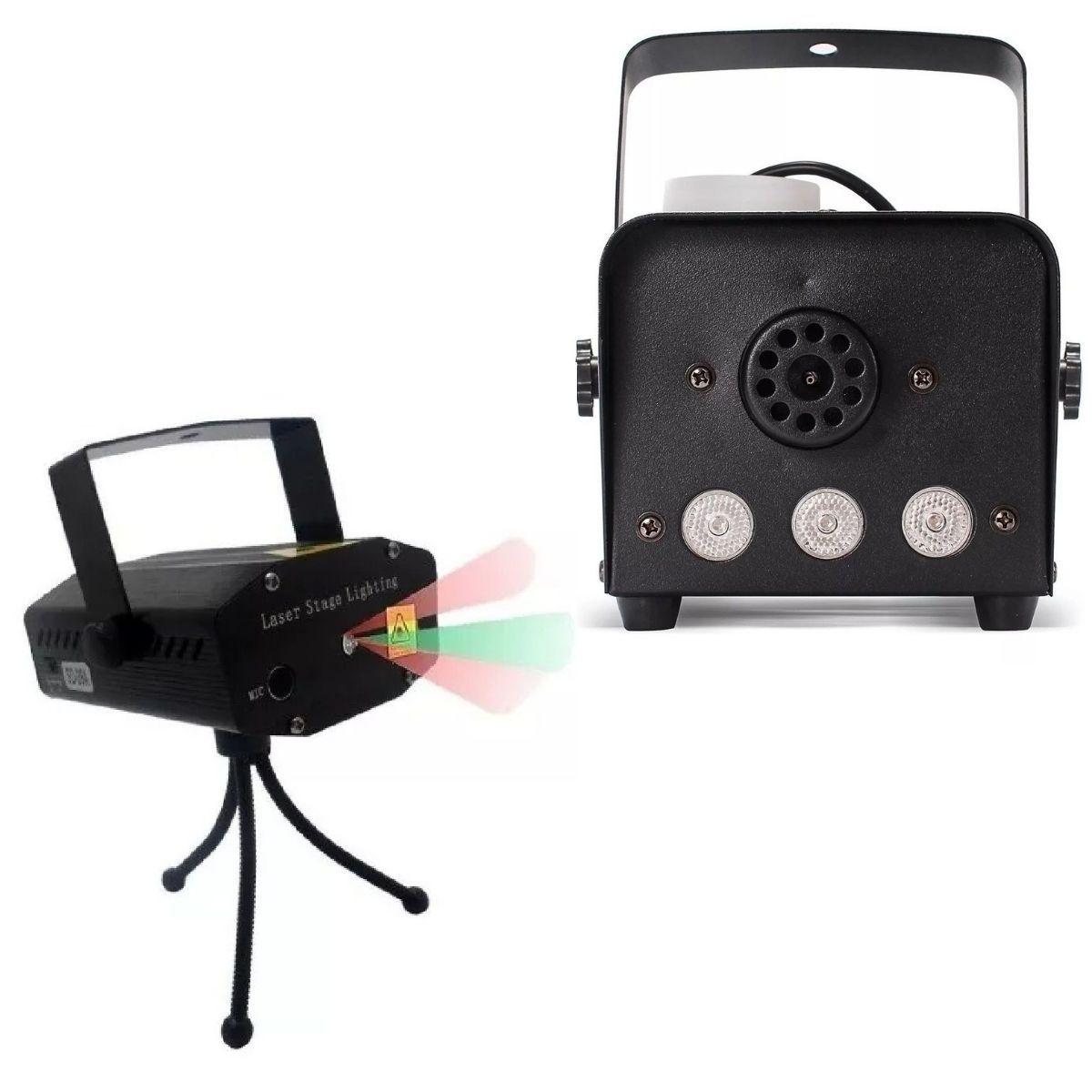 Kit Com Mini Projetor Holográfico E Maquina De Fumaça Profissional Controle Sem Fio 600W