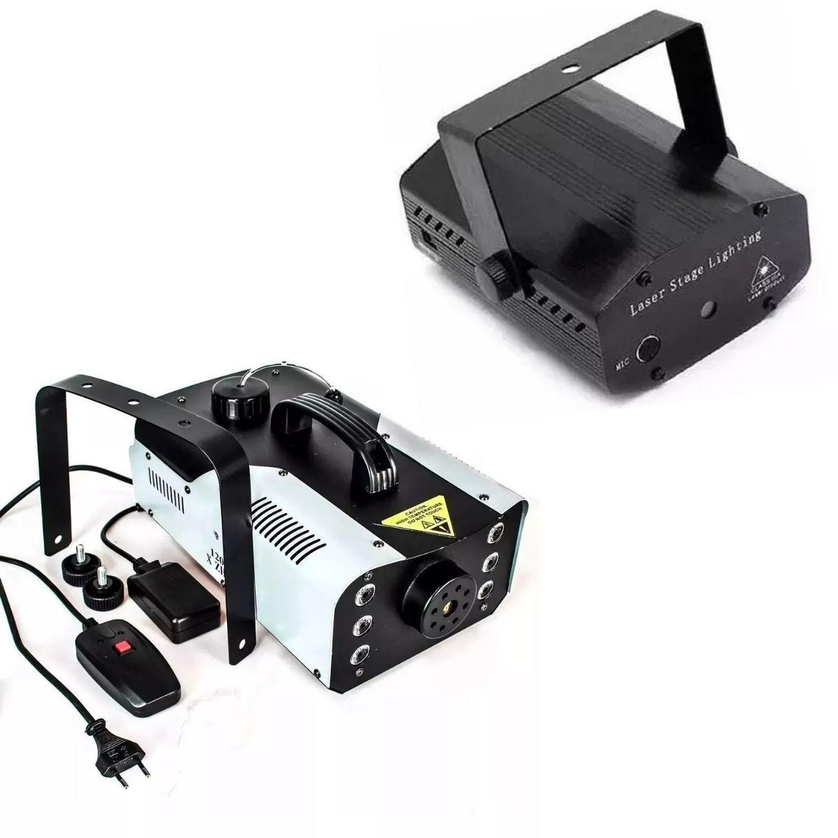 Kit Com Mini Projetor Holográfico Para Festas E Baladas Com Fumaça Efeito Led 1200W Profissional