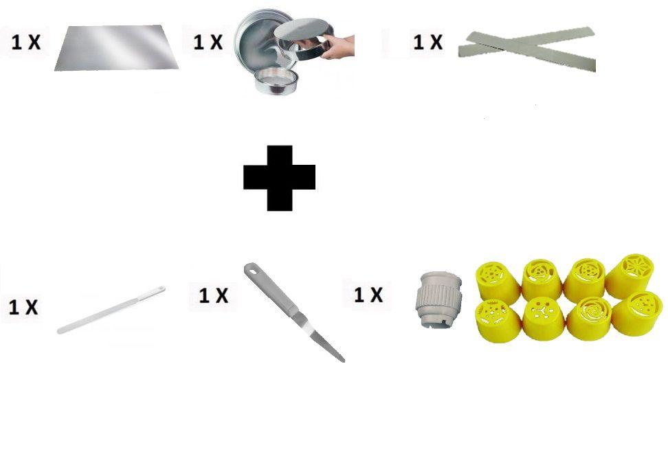 Kit Confeitaria Placa Salva Bolo + Forma de Bolo + Espátula Reta + Espátula Dobrada + Bico Russo + Régua