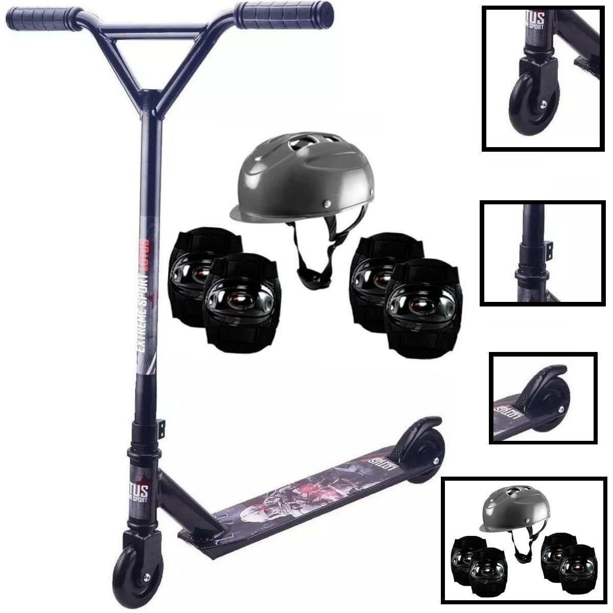 Kit Completo Com Patinete Para Manobras Radicais Masculino Preto Freestyle Até 100kg E Equipamento Segurança Preto Inmetro