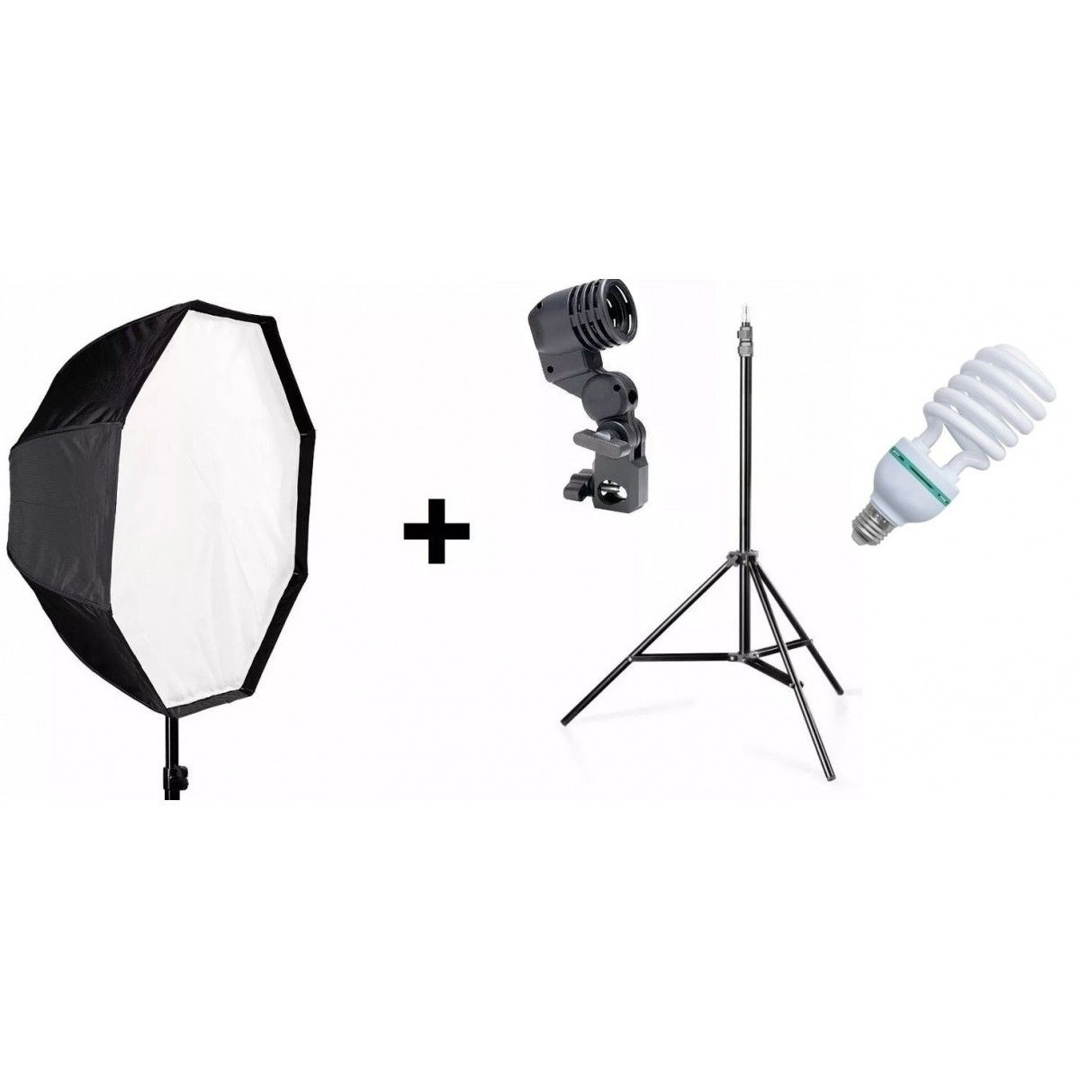 Kit Completo Para Estúdio Fotográfico - Octabox 120cm + Soquete simples + Tripé E Lâmpada 135W 110V