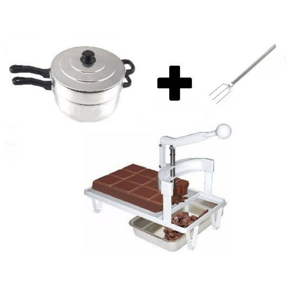 Kit Confeitaria Panela Banho Maria + Garfinho 3 Pontas + Picador E Triturador de Chocolate