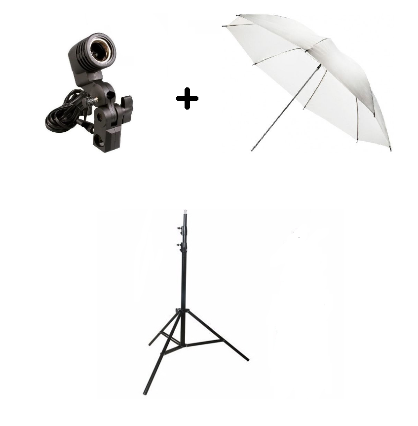 Kit De Iluminação Básico NewBorn YouTuber 1 Tripé 2 Metros + 1 Sombrinha +1 Soquete Simples