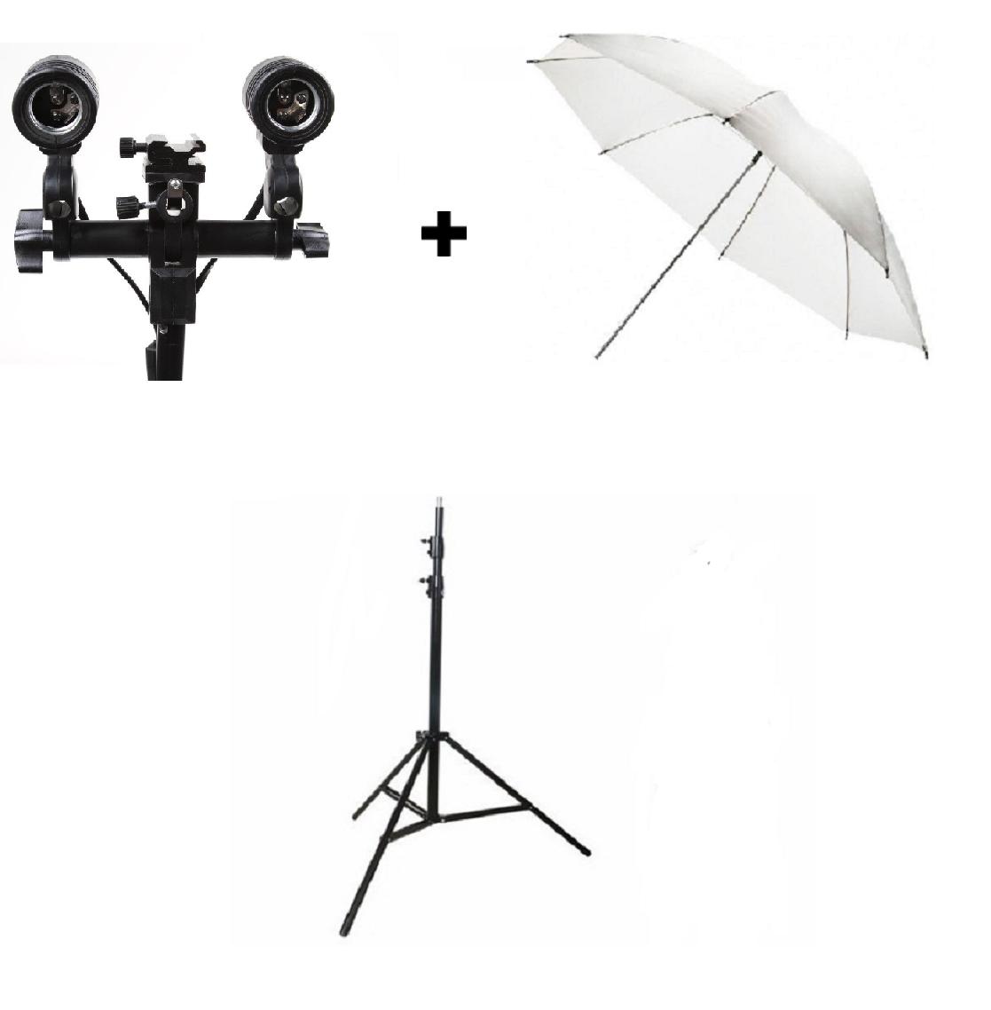 Kit De Iluminação Contínua Para Estúdio Com Tripé Soquete e Sombrinha - ST803 + Sombrinha 80 cm + Soquete Duplo Com Suporte Flash