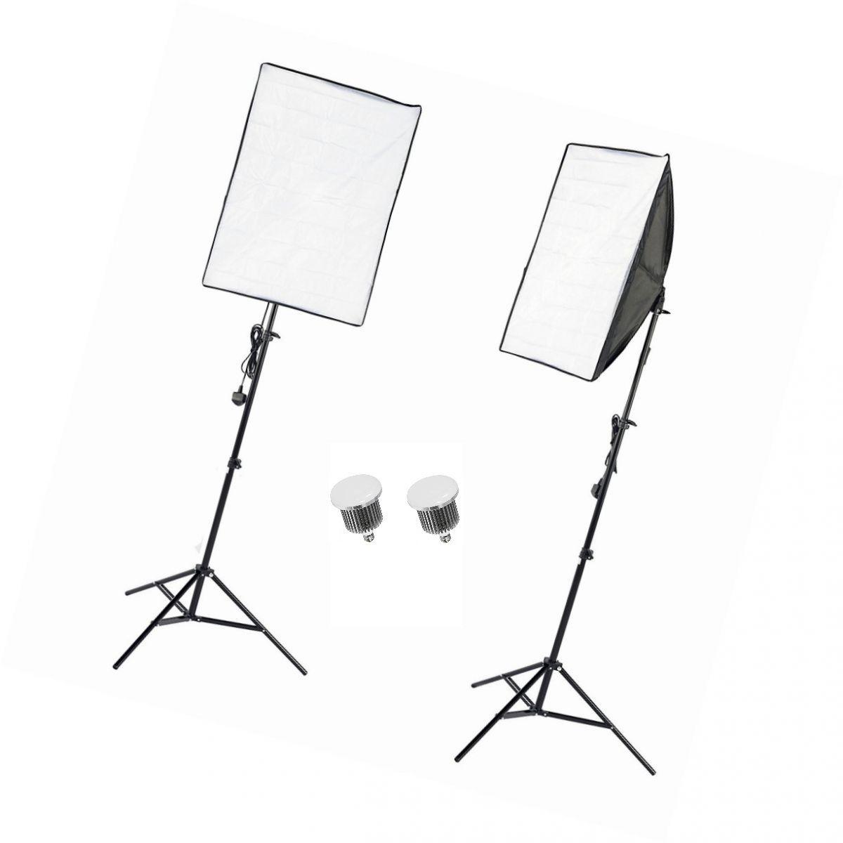 Kit de Iluminação Dois Softbox 50x70 com 2 Lâmpadas LED 65W E27 Bivolt NEWBORN3 - LED170W