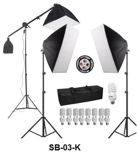 KIT DE ILUMINAÇÃO COM LAMPADAS SOFTBOX E GIRAFA PARA ESTUDIO - SB-03-K 110V