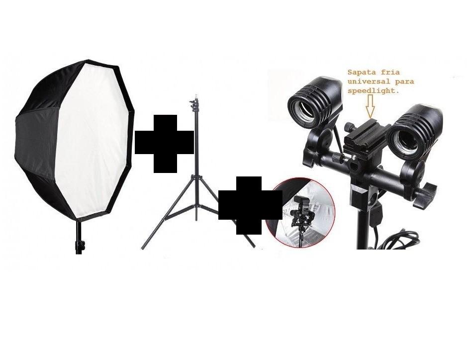 Kit De Iluminação Profissional Octabox 95cm Universal + Soquete Duplo Com Suporte Flash + Tripé 2 Metros
